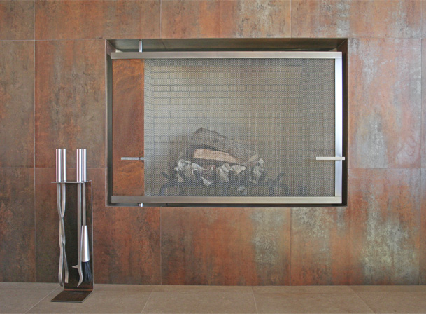 built in swiveling fire screen and fire tools